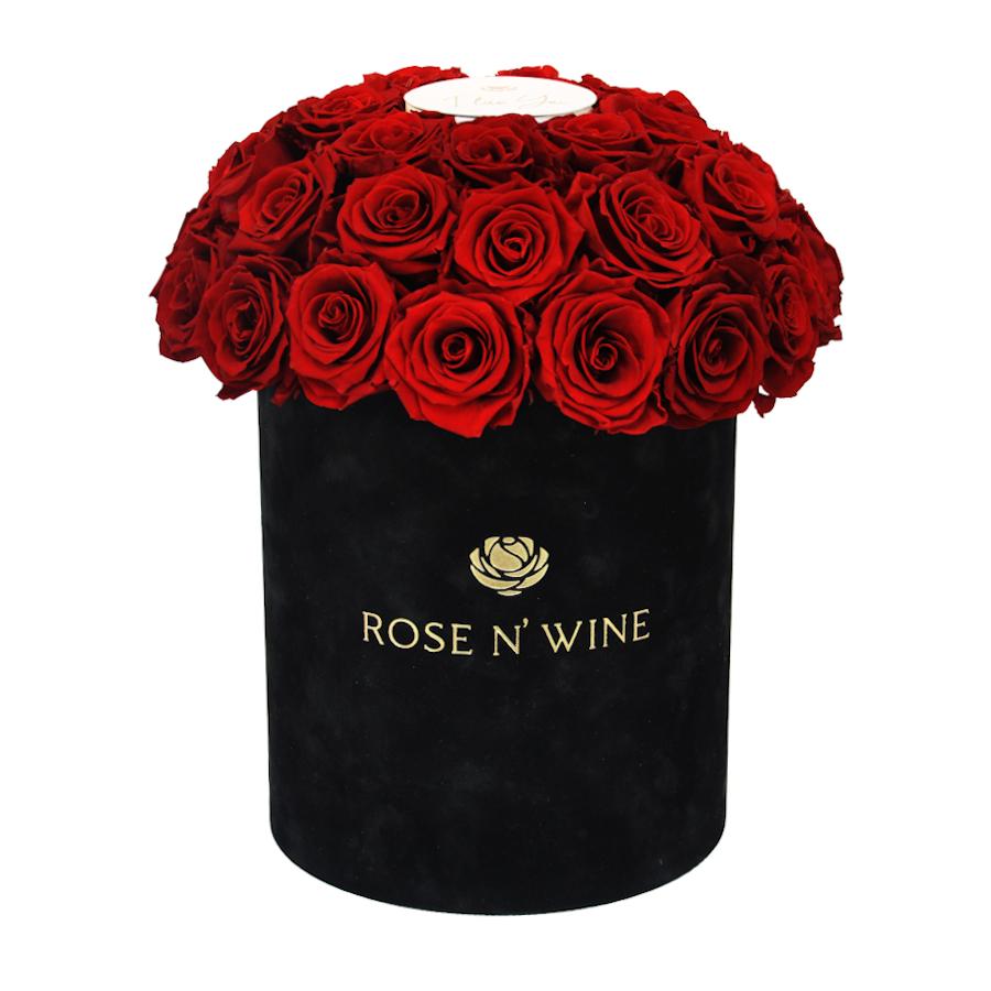 classy box czerwone roze wieczne czarny flowerbox rose n wine