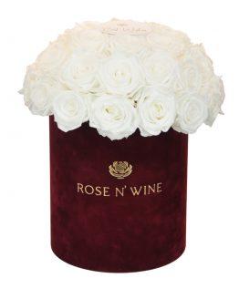 classy box biale roze wieczne burgundowy flowerbox rose n wine
