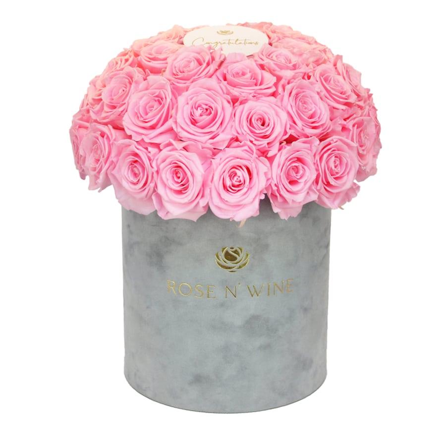 Classy Box Gray Rose n Wine Roze Wieczne Flower Box