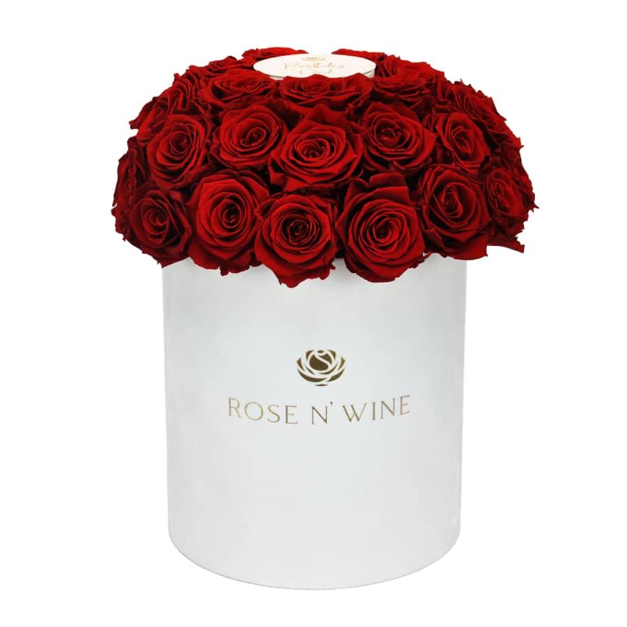 classy box czerwone roze wieczne bialy flowerbox rose n wine