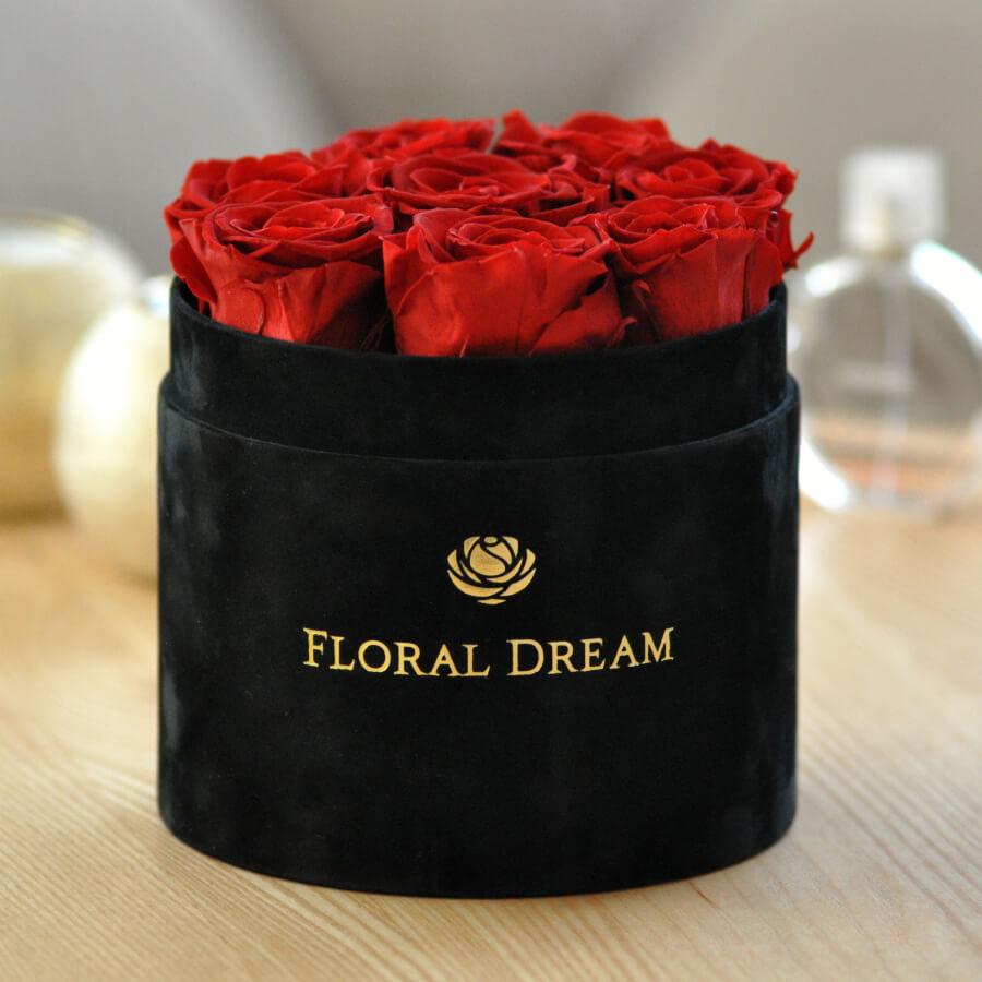 wieczne róże w pudełku flower box czarny