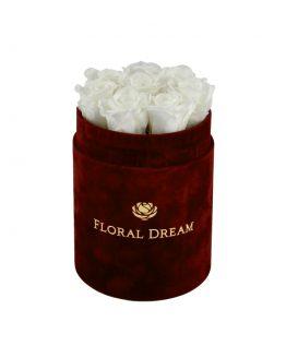 wieczne róże flower box białe kwiaty stabilizowane