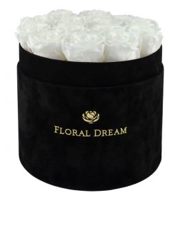 białe róże wieczne w pudełku