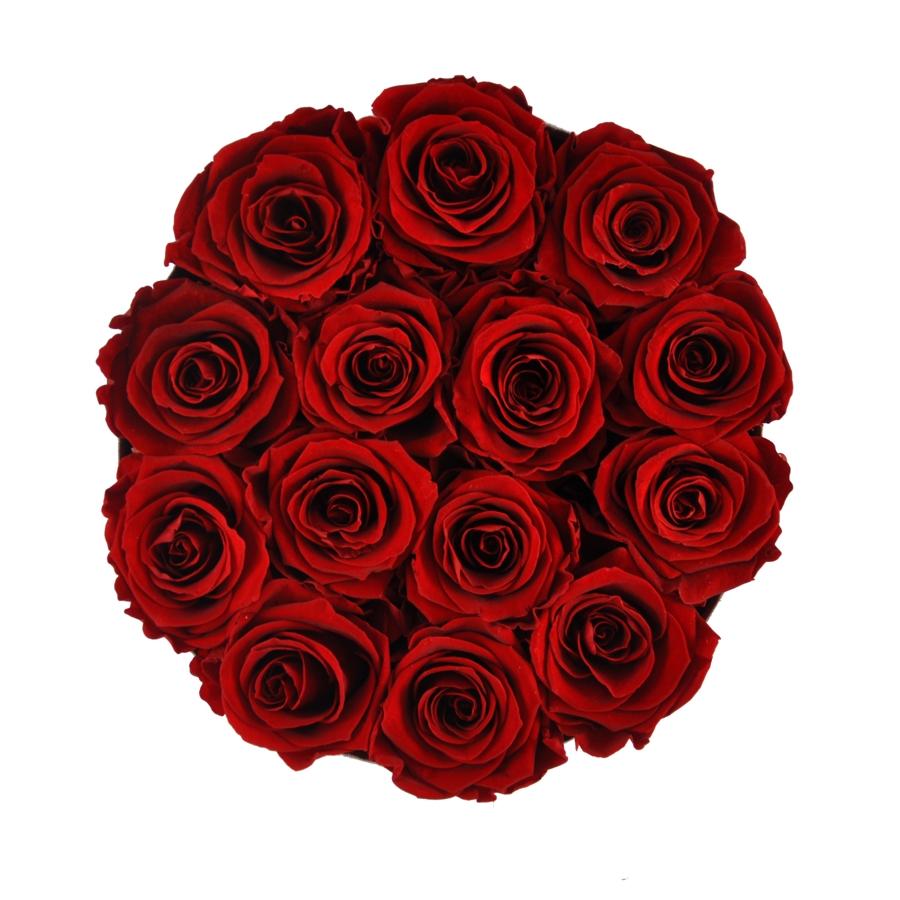 wieczne róże w pudełku flower box flat lay