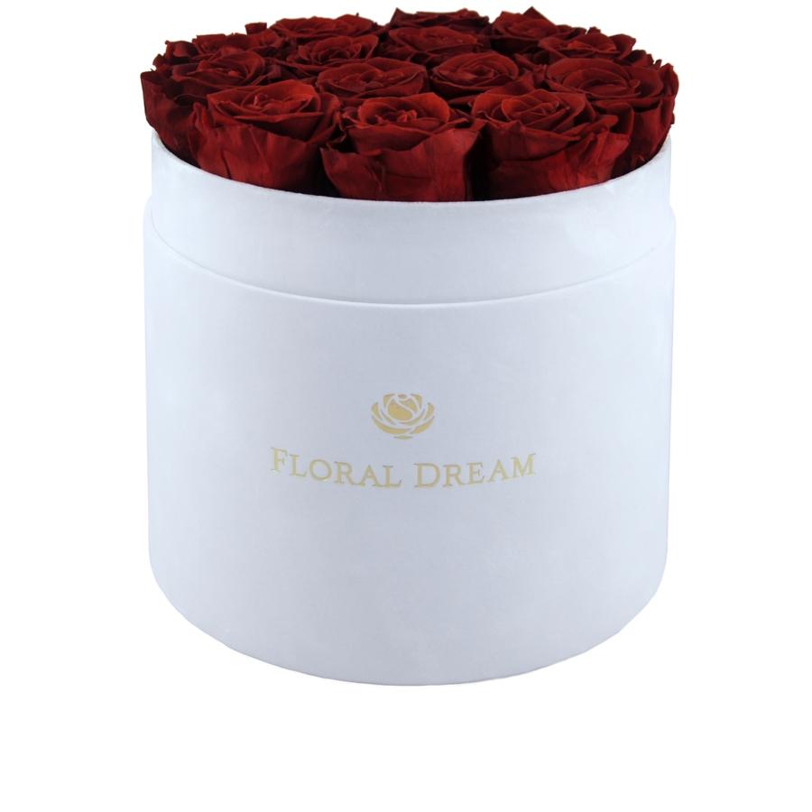 wieczne róże w dużym białym flower box