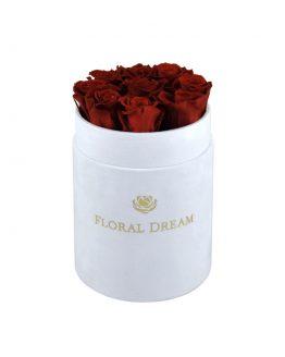czerwone wieczne róże w pudełku typu flower box