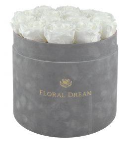 flwoer box grande edition szary z białymi różami